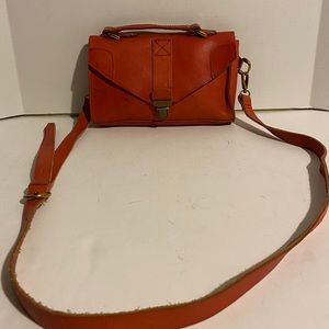 Madewell red orange crossbody leather handbag